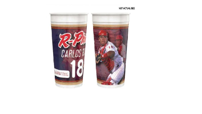 Reading Fightin Phils Carlos Ruiz 32 oz. Cup 4-25-2019