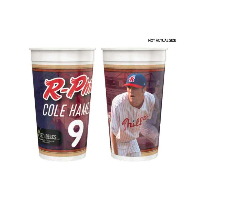 Reading Fightin Phils Cole Hamels 32 oz. Cup 4-30-2019