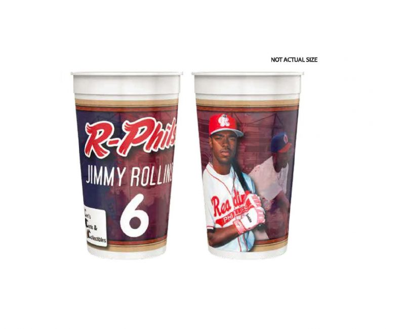 Reading Fightin Phils Jimmy Rollins 32 oz. Cup 5-7-2019