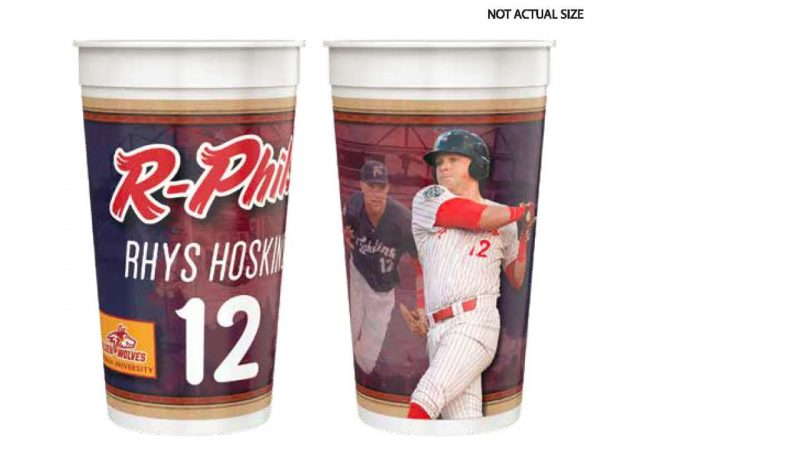 Reading Fightin Phils Rhys Hoskins 32 oz. Cup 5-16-2019