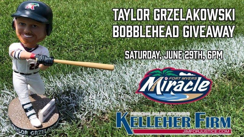 Fort Myers Miracle Taylor Grzelakowski Bobblehead