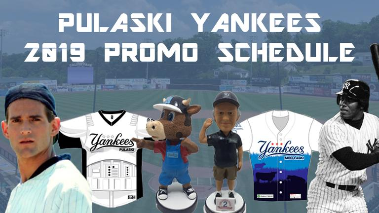 Pulaski Yankees 2019 Promotional Stadium Giveaways