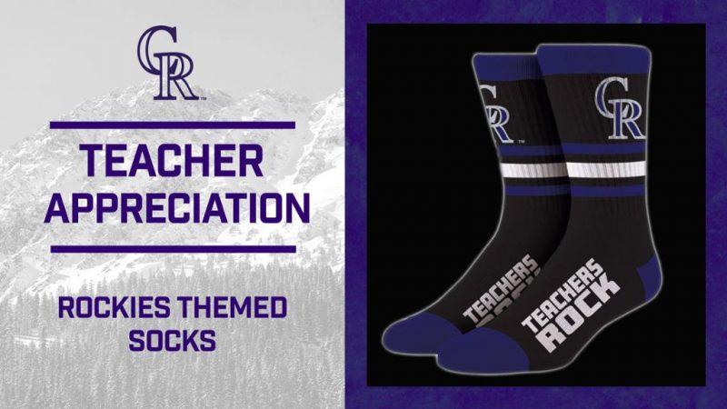 TEACHERS ROCK-themed socks