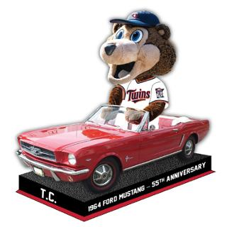 Twins Mascot T.C. Bobblehead in a Mustang