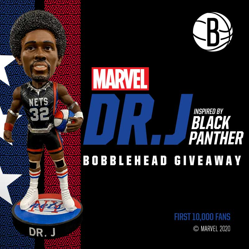 Brooklyn Nets - Dr. J as Black Panther Bobblehead