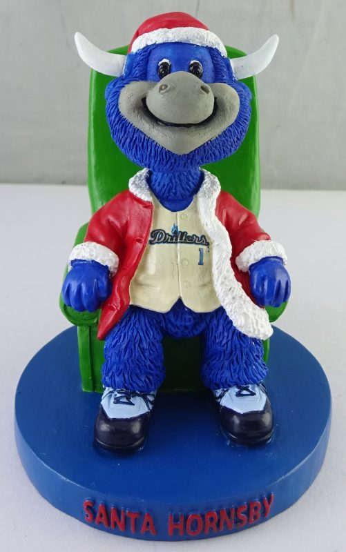 Tulsa Drillers Halfway to Christmas Santa Hornsby Mini Bobblehead