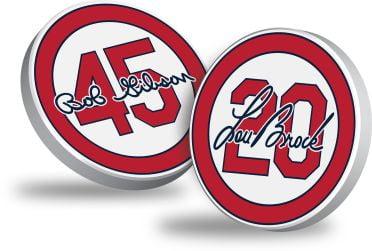 St Louis Cardinals - Lou Brock & Bob Gibson Lapel Pin Set